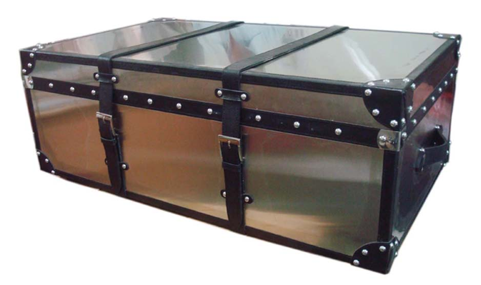 Beau STAIN LESS STEEL TRUNK CUM COFFEE TABLE WITH BELTS
