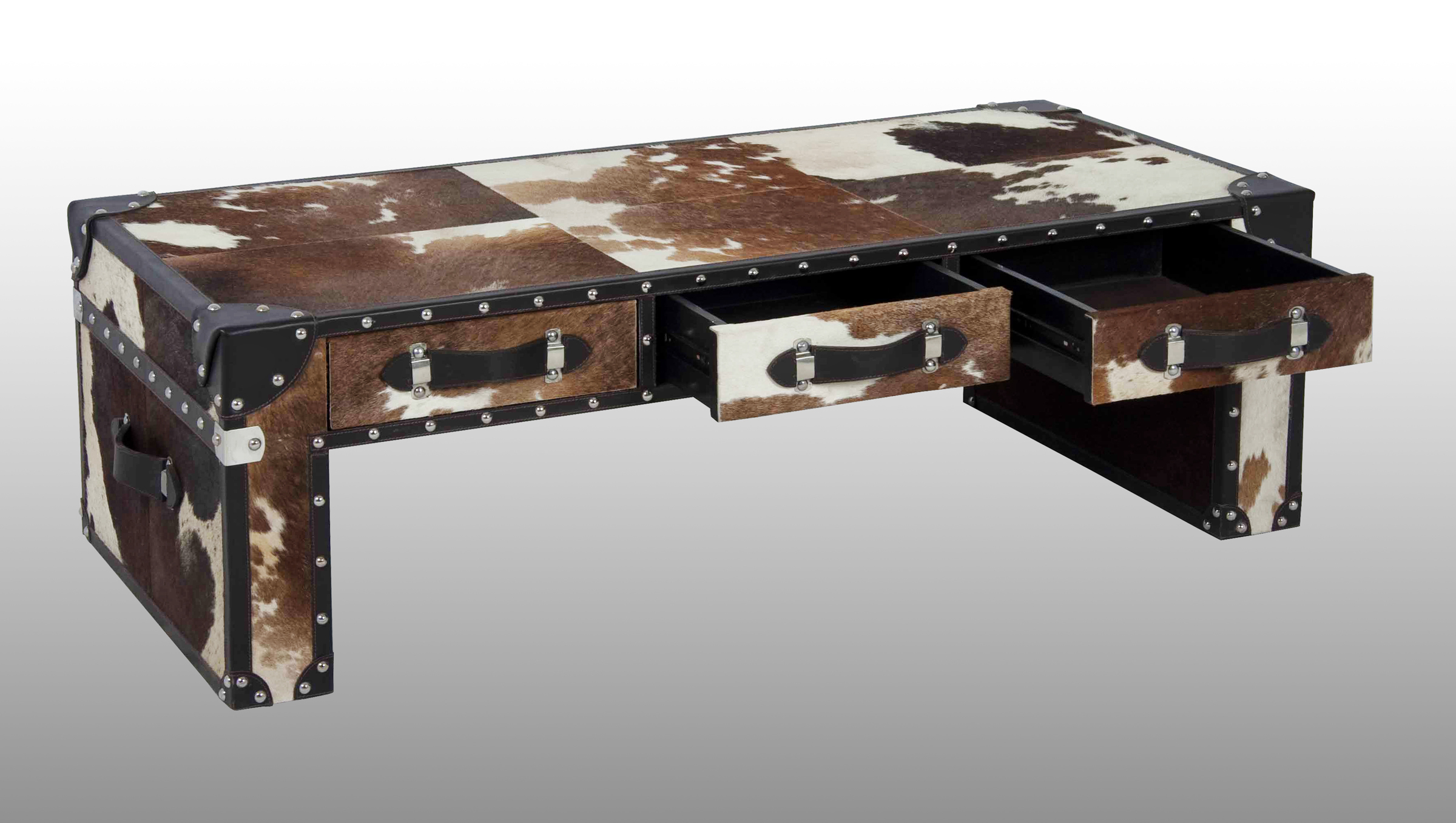 BROWN AND WHITE HAIRY LEATHER COFFEE TABLE